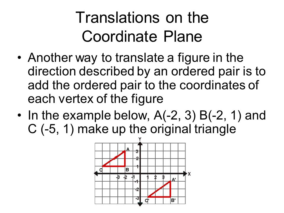 Translations on the Coordinate Plane Another way to translate a figure in the direction described by an ordered pair is to add the ordered pair to the