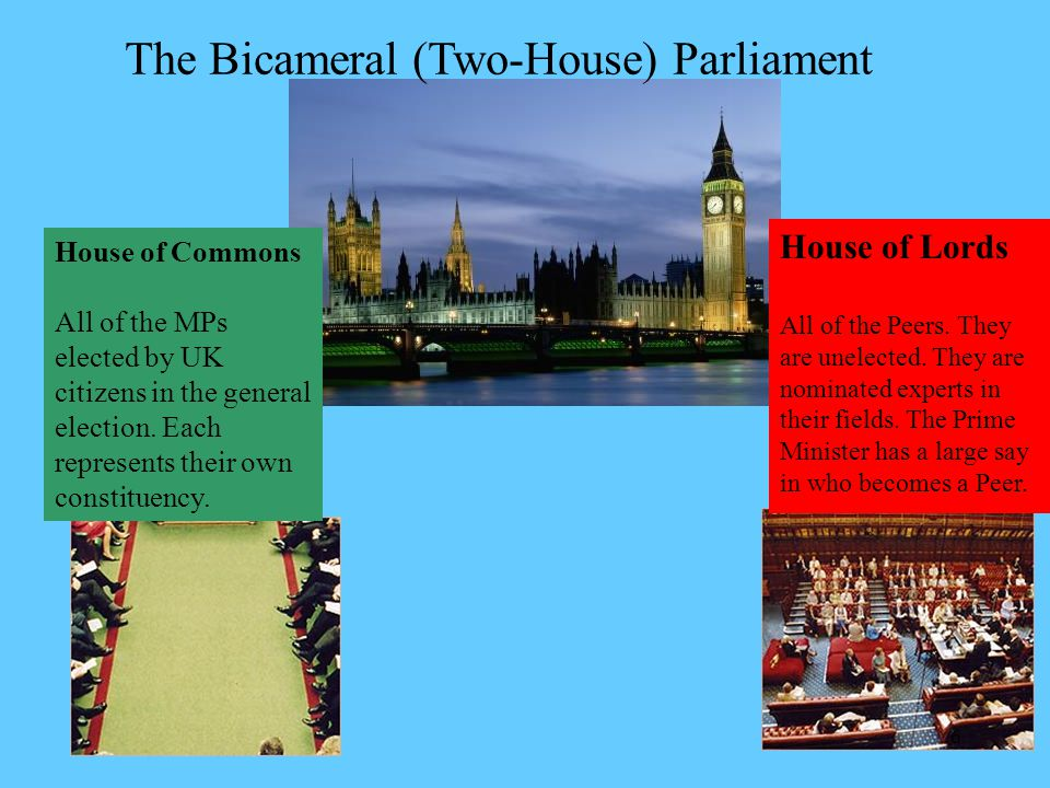 The Bicameral (Two-House) Parliament House of Lords All of the Peers.