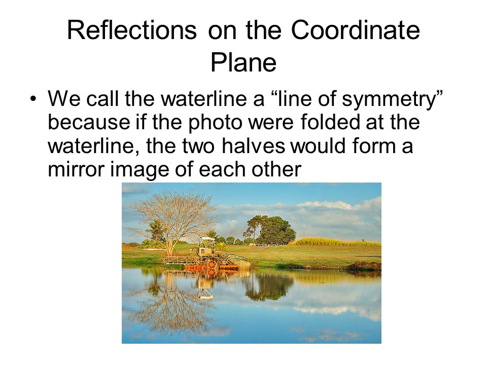 Reflections on the Coordinate Plane Checkpoint If square MATH is reflected into quadrant II, what is the line of symmetry.