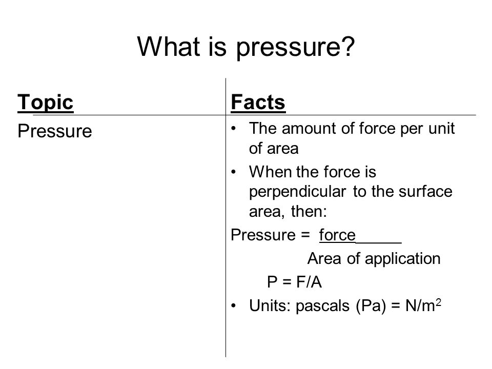 Pressure vs.Force Topic What makes pressure different from force.