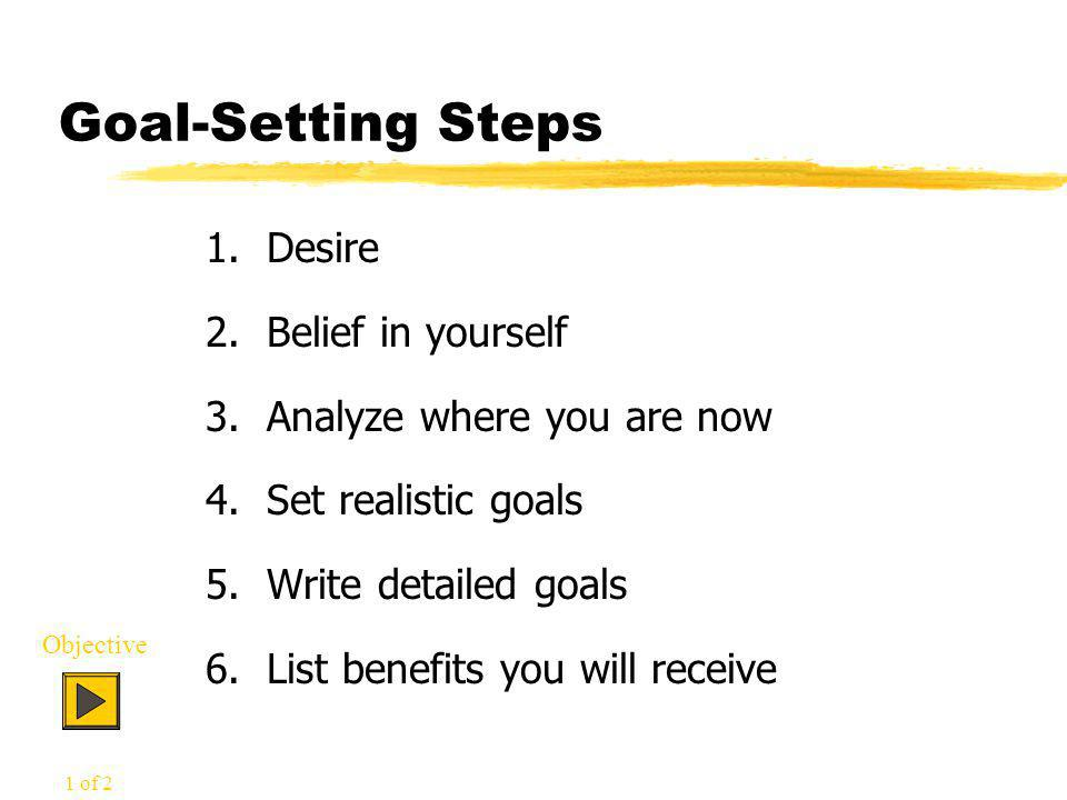 Goal-Setting Steps 1. Desire 2. Belief in yourself 3.