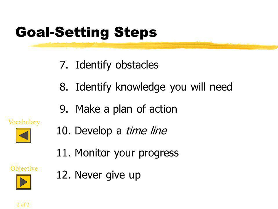 Goal-Setting Steps 7. Identify obstacles 8. Identify knowledge you will need 9.