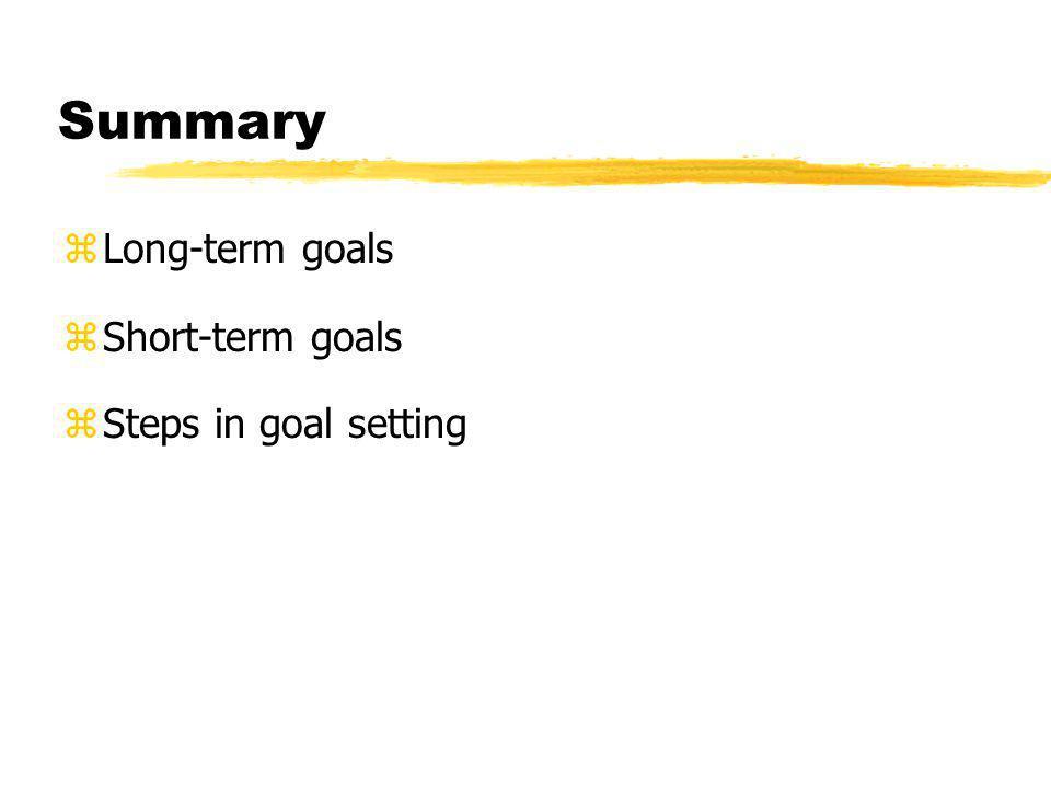 Summary zLong-term goals zShort-term goals zSteps in goal setting