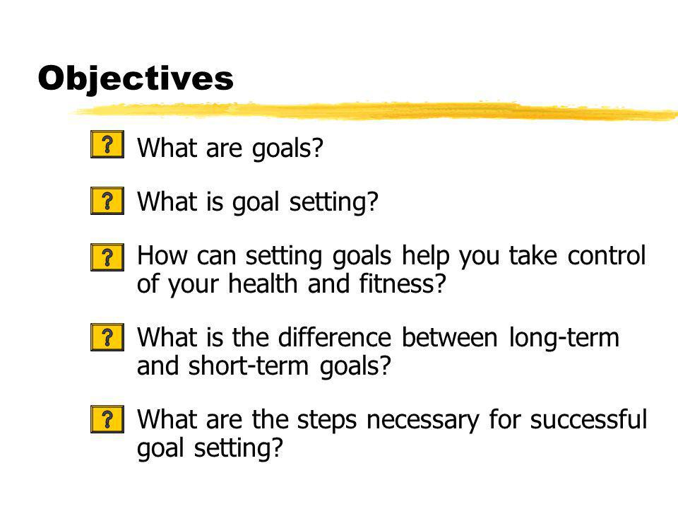 Objectives What are goals. What is goal setting.