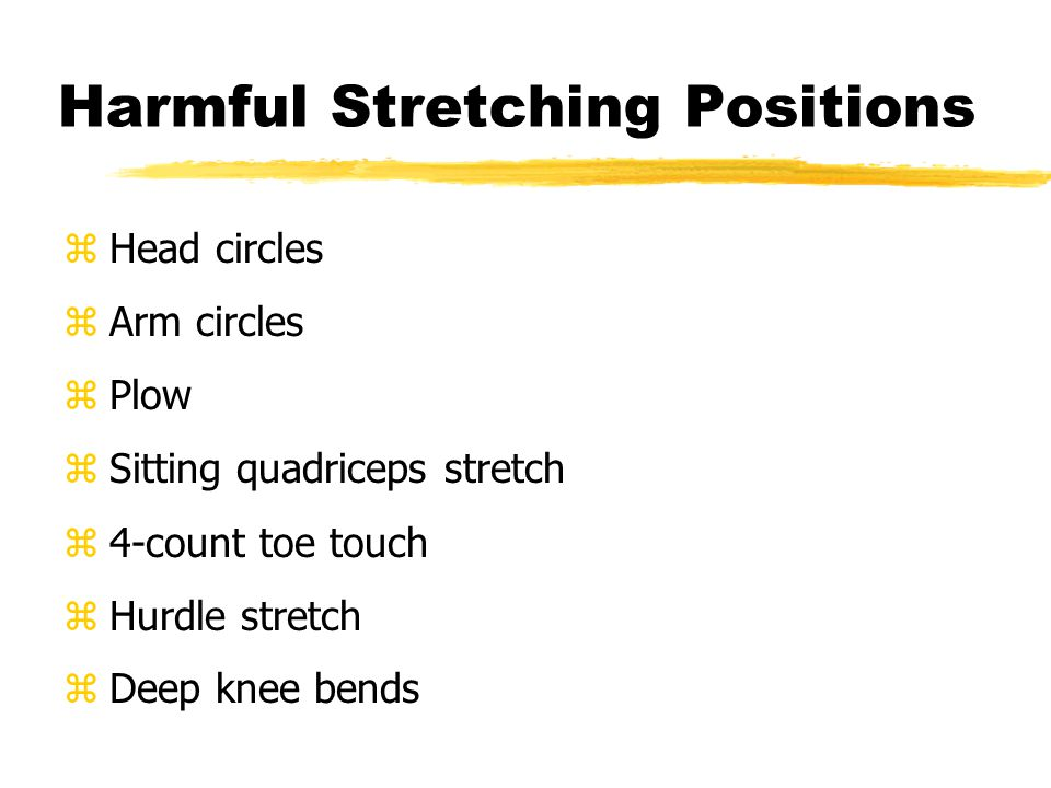 Flexibility Exercises zLower back stretch zHamstring zGroin zQuadriceps zCalf zAchilles tendon zShin