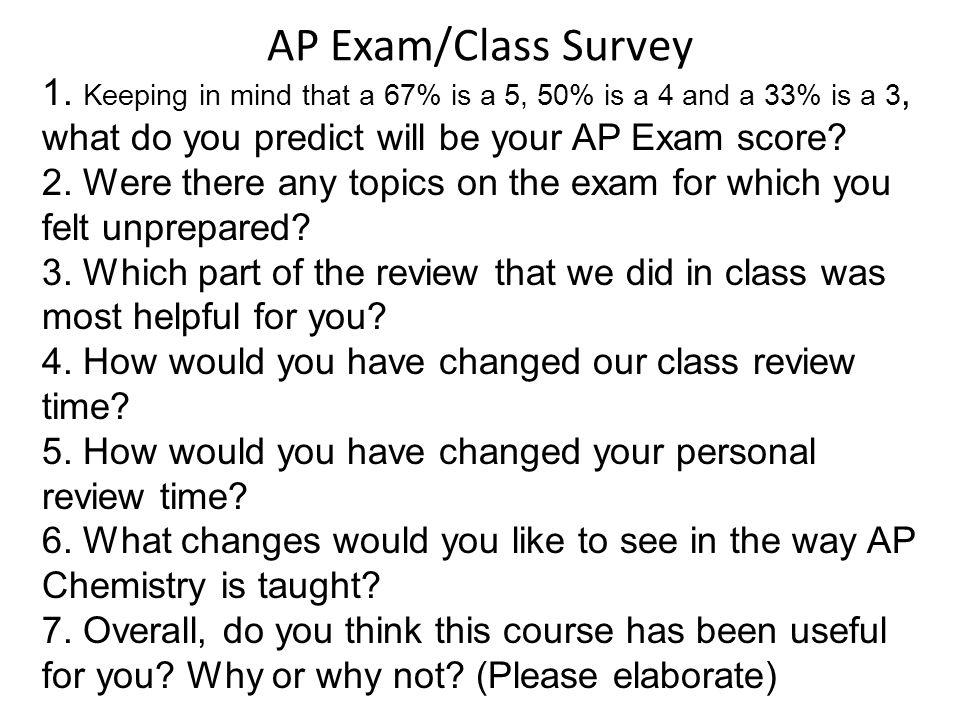 AP Exam/Class Survey 1.