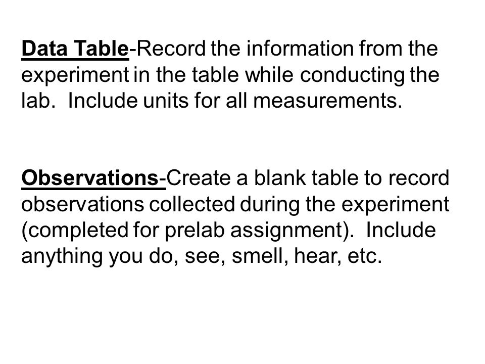 Data Table-Record the information from the experiment in the table while conducting the lab.