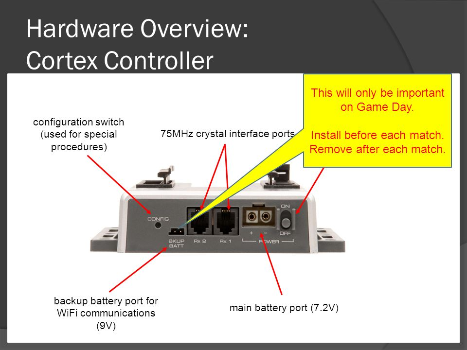 Hardware Overview: Cortex Controller backup battery port for WiFi communications (9V) 75MHz crystal interface ports On/Off switch main battery port (7.2V) configuration switch (used for special procedures) This will only be important on Game Day.