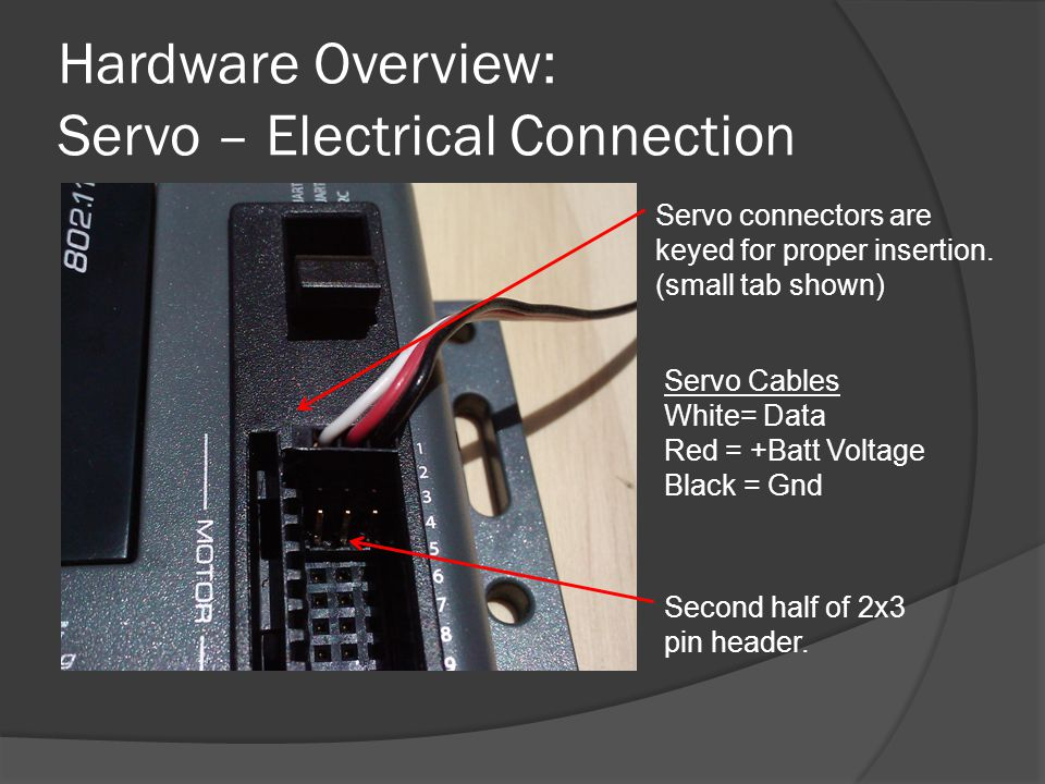 Hardware Overview: Servo – Electrical Connection Servo connectors are keyed for proper insertion. (small tab shown) Servo Cables White= Data Red = +Ba
