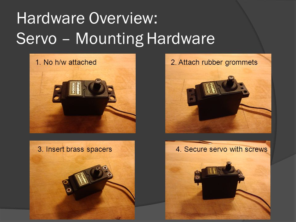 Hardware Overview: Servo – Mounting Hardware 1. No h/w attached2.