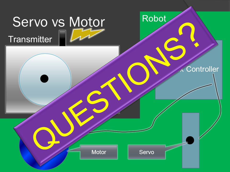 Servo vs Motor 03264127-32-64-127 Transmitter Cortex Controller Servo Motor QUESTIONS ? Robot