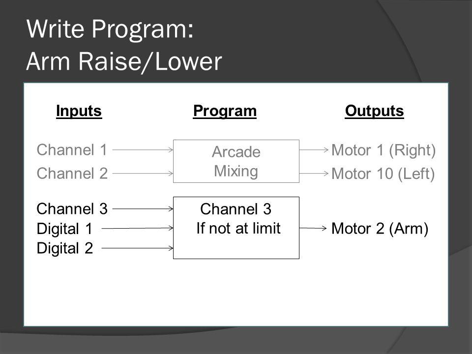 Write Program: Arm Raise/Lower Channel 1 Channel 2 Arcade Mixing Motor 1 (Right) Motor 10 (Left) InputsOutputsProgram Channel 3 If not at limit Digita