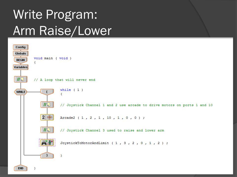 Write Program: Arm Raise/Lower