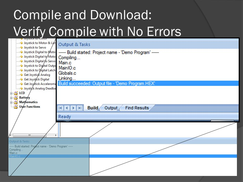 Compile and Download: Verify Compile with No Errors