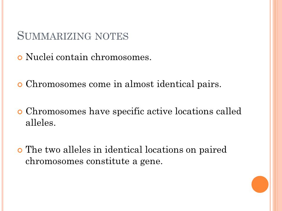 S UMMARIZING NOTES Nuclei contain chromosomes. Chromosomes come in almost identical pairs.