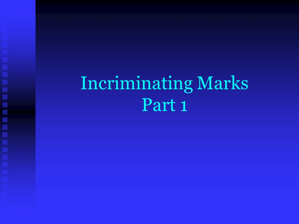 Analysis of Evidence 3 Major steps to examining evidence 3 Major steps to examining evidence  Determine what made the prints (class)  Determine the (individual) characteristics of the print  Comparing to Known Standards