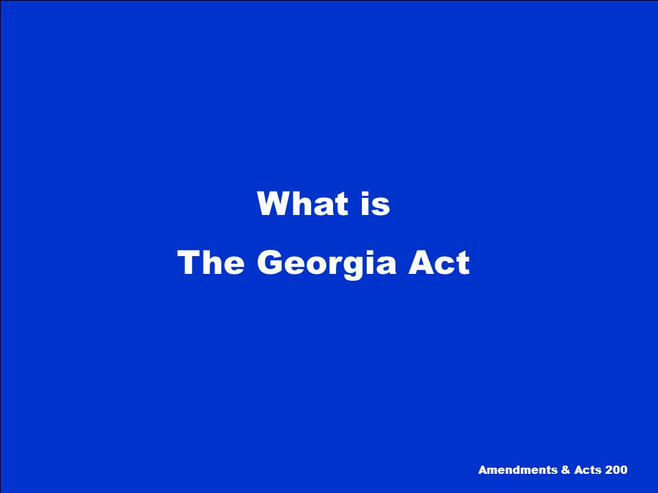 This act, passed in 1869, returned Georgia to military control for the third time.