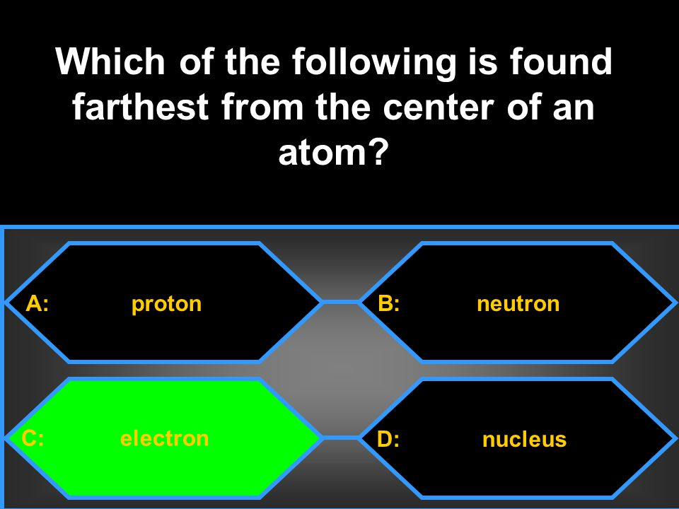 A: proton C: electron B: neutron D: nucleus Which of the following is found farthest from the center of an atom?