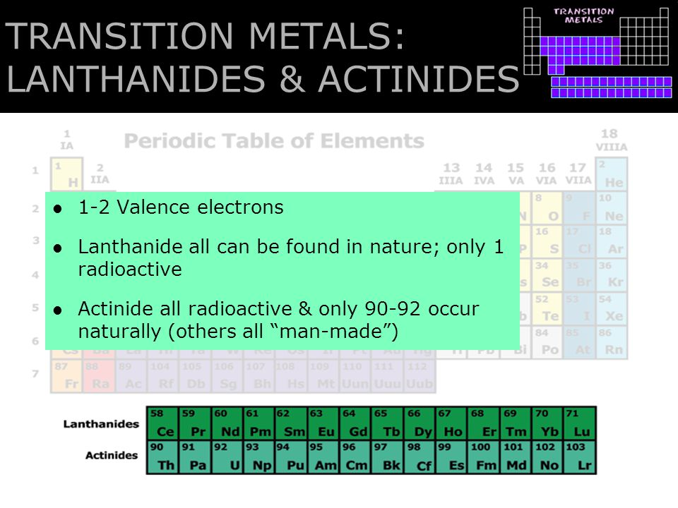 TRANSITION METALS: LANTHANIDES & ACTINIDES 1-2 Valence electrons Lanthanide all can be found in nature; only 1 radioactive Actinide all radioactive &