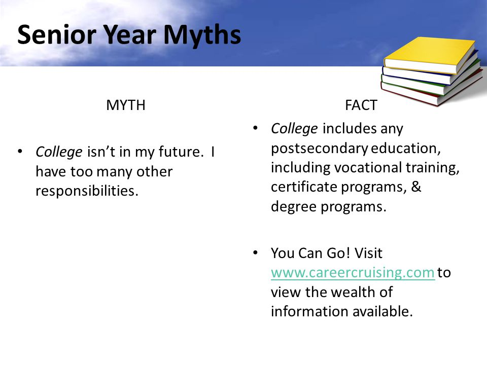 MYTH It's time to take it easy because I'm a senior.