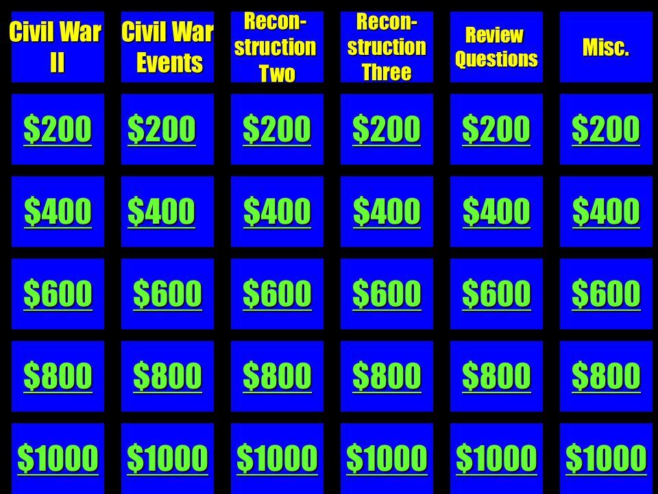 $100 $200 $300 $400 $500 1850s I 1850s II1850s IIICivilWarRecon-structionSouthernSlavery
