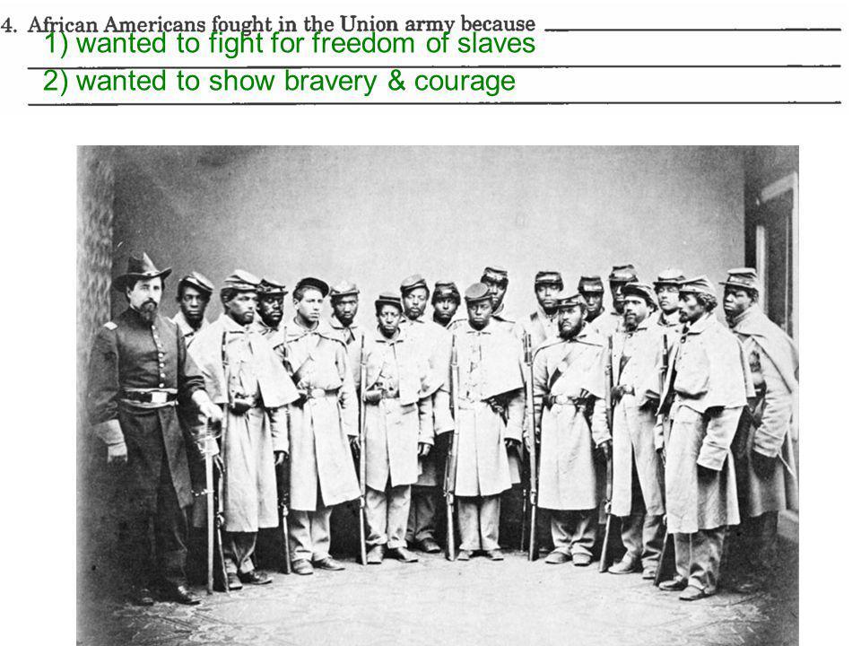 all-Black unit: former slaves, runaways, free blacks [movie: GLORY ] CONF fort (Charleston, SC); white units had failed to take it; 54th MA attacked