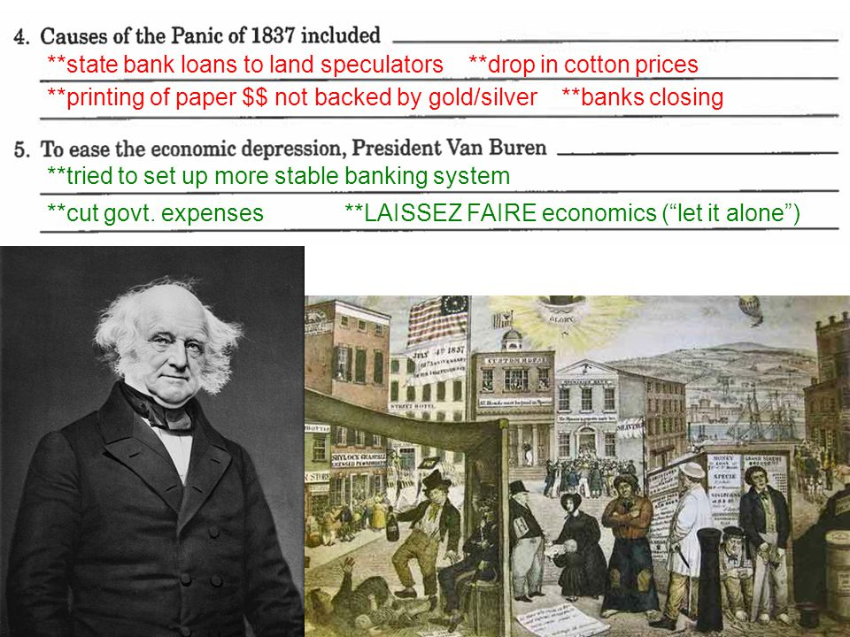 **state bank loans to land speculators **drop in cotton prices **printing of paper $$ not backed by gold/silver **banks closing **tried to set up more stable banking system **cut govt.