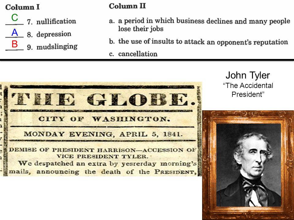 C B A John Tyler The Accidental President