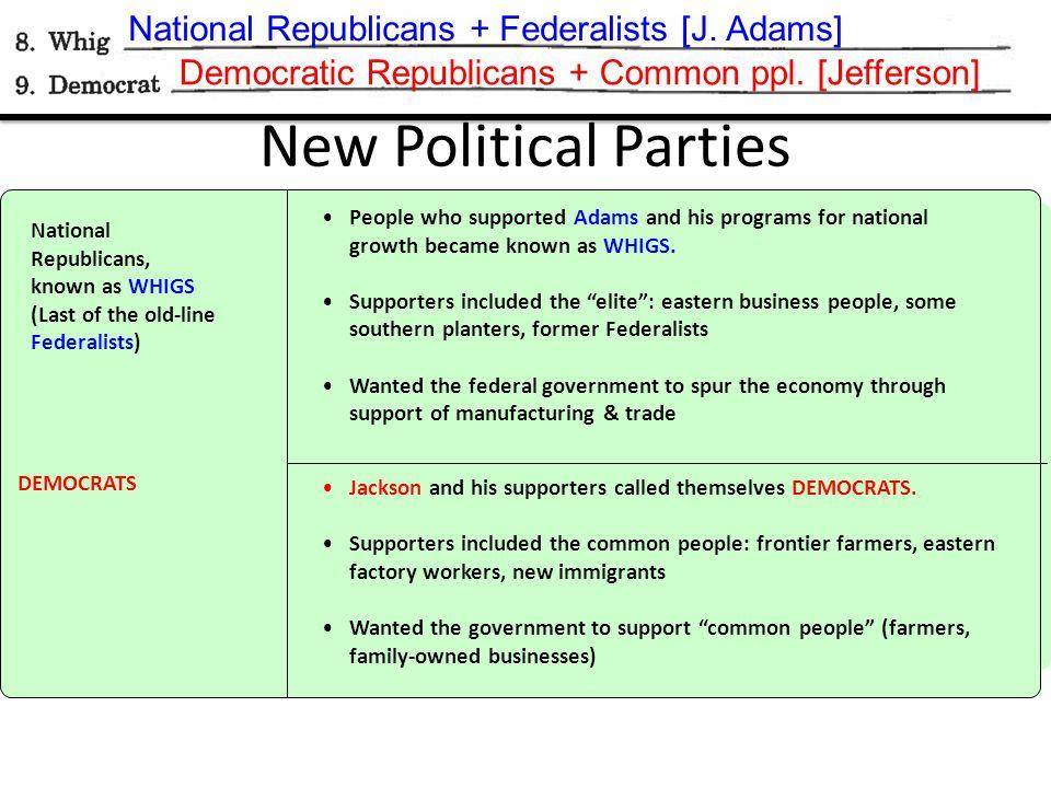 National Republicans + Federalists [J.Adams] Democratic Republicans + Common ppl.