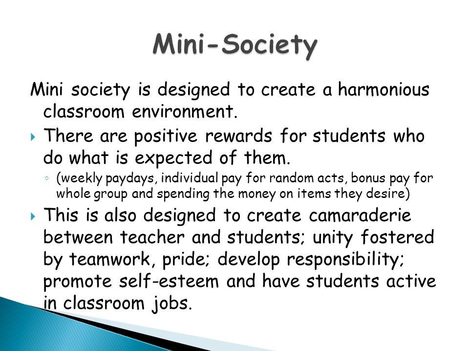 Mini society is designed to create a harmonious classroom environment.