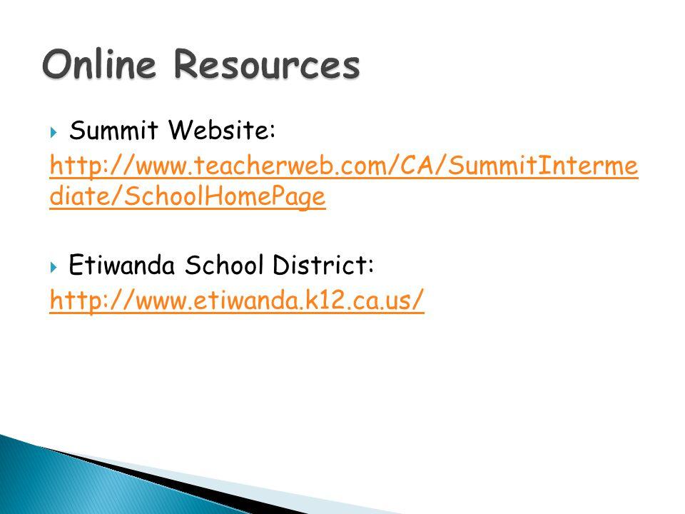  Summit Website: http://www.teacherweb.com/CA/SummitInterme diate/SchoolHomePage  Etiwanda School District: http://www.etiwanda.k12.ca.us/