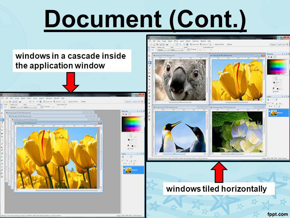 Document (Cont.) windows in a cascade inside the application window windows tiled horizontally
