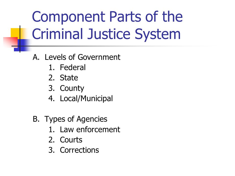 Component Parts of the Criminal Justice System A. Levels of Government 1. Federal 2. State 3. County 4. Local/Municipal B. Types of Agencies 1. Law en