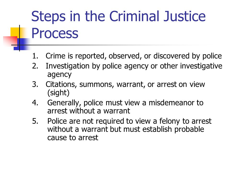 Steps in the Criminal Justice Process 1. Crime is reported, observed, or discovered by police 2. Investigation by police agency or other investigative