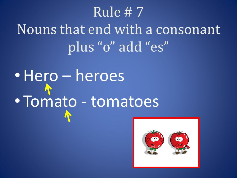Rule # 7 Nouns that end with a consonant plus o add es Hero – heroes Tomato - tomatoes