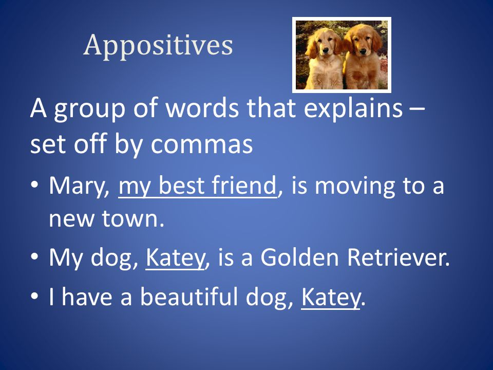 Appositives A group of words that explains – set off by commas Mary, my best friend, is moving to a new town. My dog, Katey, is a Golden Retriever. I