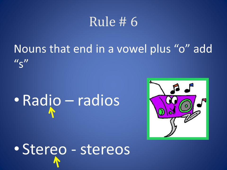 Rule # 6 Nouns that end in a vowel plus o add s Radio – radios Stereo - stereos