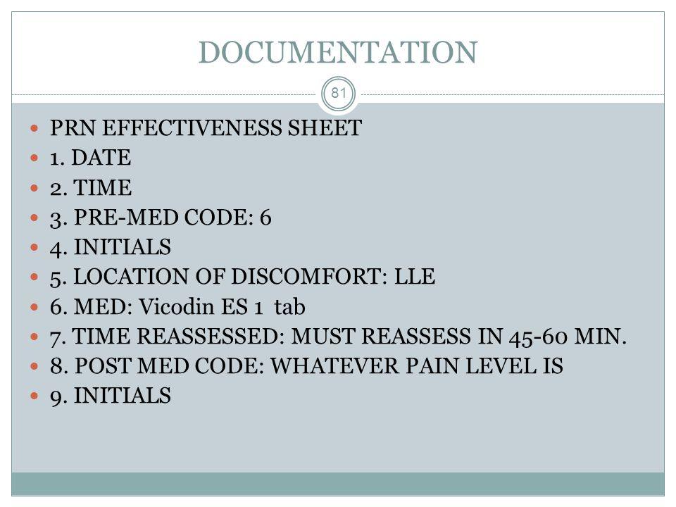 DOCUMENTATION 81 PRN EFFECTIVENESS SHEET 1. DATE 2. TIME 3. PRE-MED CODE: 6 4. INITIALS 5. LOCATION OF DISCOMFORT: LLE 6. MED: Vicodin ES 1 tab 7. TIM