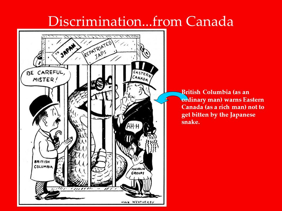 Discrimination...from Canada British Columbia (as an ordinary man) warns Eastern Canada (as a rich man) not to get bitten by the Japanese snake.