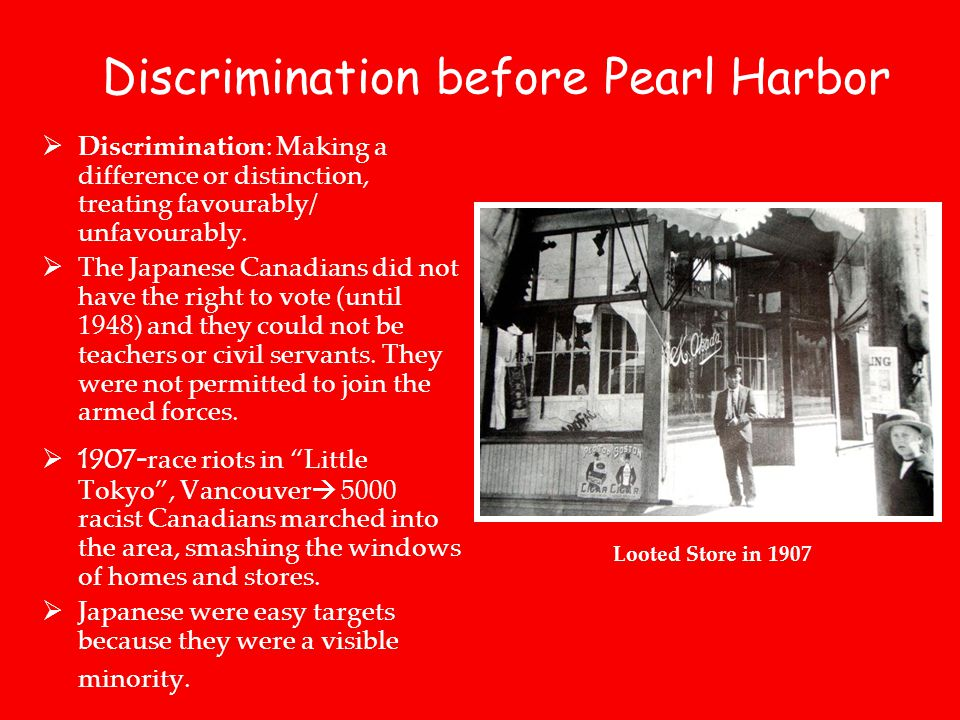 Discrimination before Pearl Harbor  Discrimination: Making a difference or distinction, treating favourably/ unfavourably.
