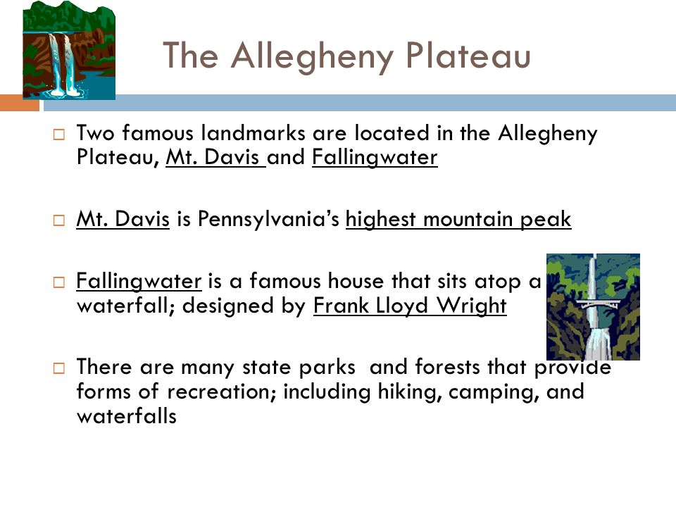 The Allegheny Plateau  Two famous landmarks are located in the Allegheny Plateau, Mt. Davis and Fallingwater  Mt. Davis is Pennsylvania's highest mo