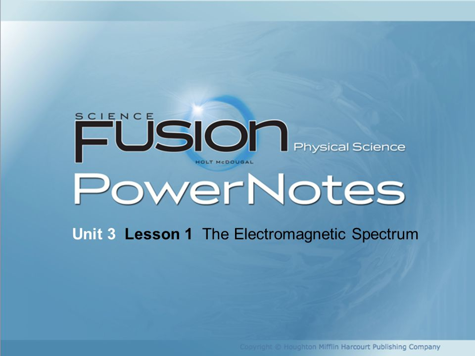 Copyright © Houghton Mifflin Harcourt Publishing Company Unit 3 Lesson 1 The Electromagnetic Spectrum