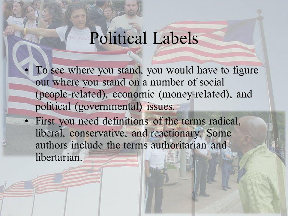 Political Labels To see where you stand, you would have to figure out where you stand on a number of social (people-related), economic (money-related)