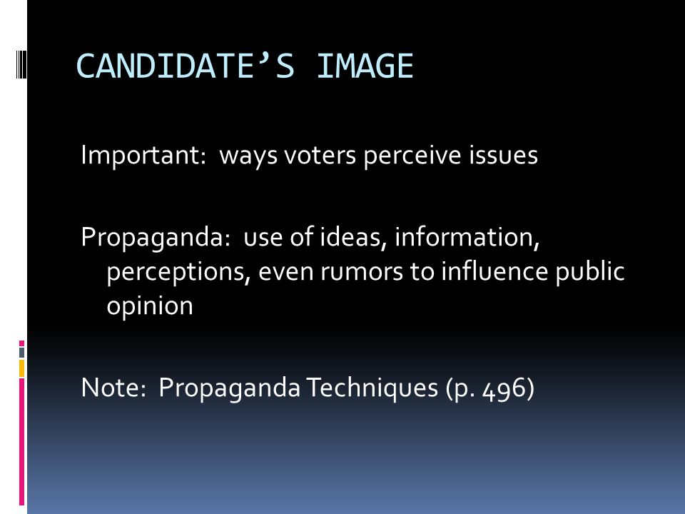 CANDIDATE'S IMAGE Important: ways voters perceive issues Propaganda: use of ideas, information, perceptions, even rumors to influence public opinion N