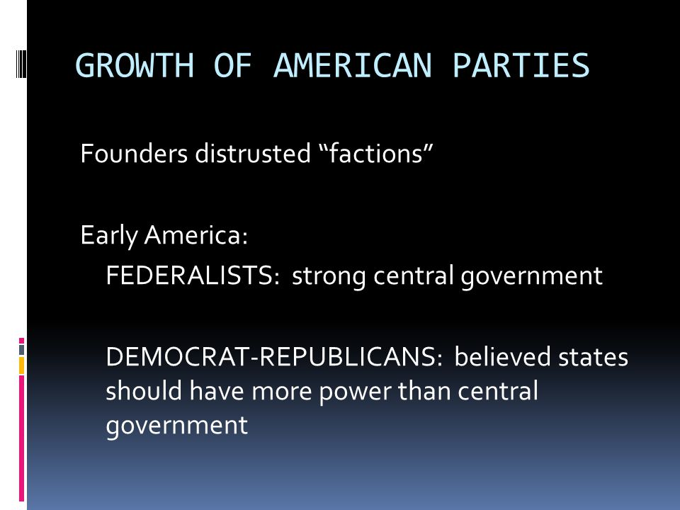 """GROWTH OF AMERICAN PARTIES Founders distrusted """"factions"""" Early America: FEDERALISTS: strong central government DEMOCRAT-REPUBLICANS: believed states"""