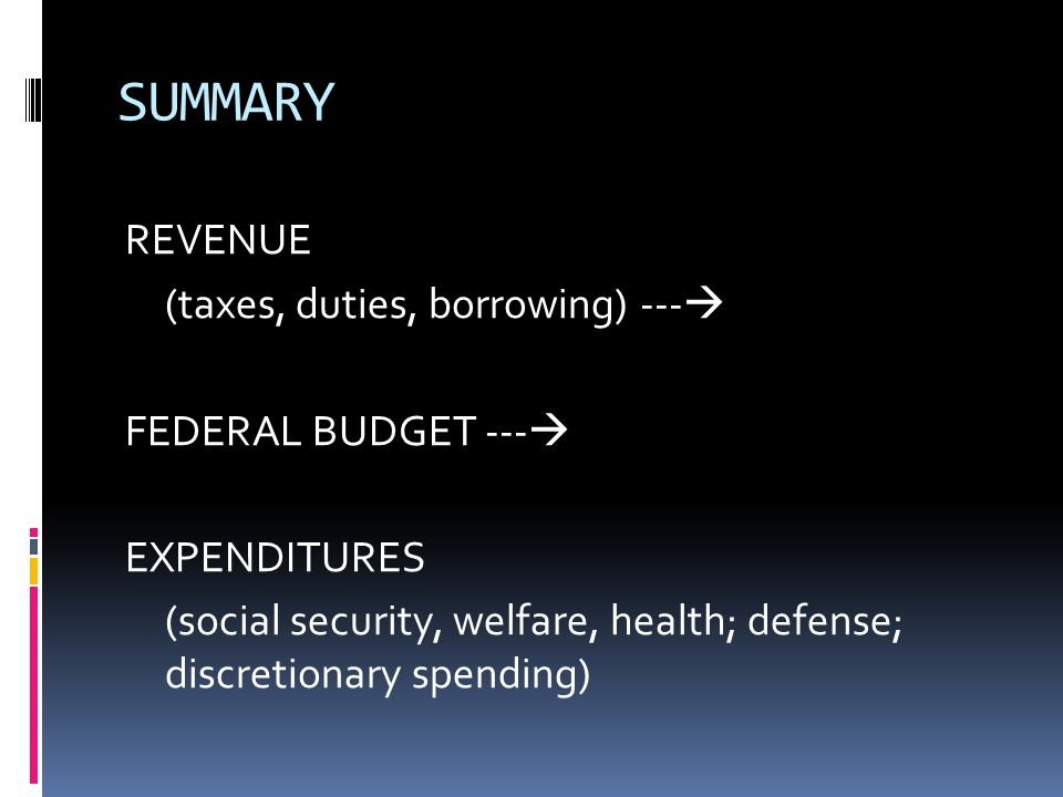 SUMMARY REVENUE (taxes, duties, borrowing) ---  FEDERAL BUDGET ---  EXPENDITURES (social security, welfare, health; defense; discretionary spending)
