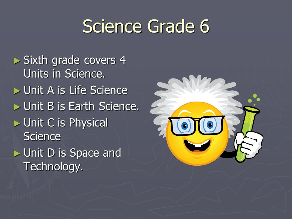 Science Grade 6 ► Sixth grade covers 4 Units in Science. ► Unit A is Life Science ► Unit B is Earth Science. ► Unit C is Physical Science ► Unit D is