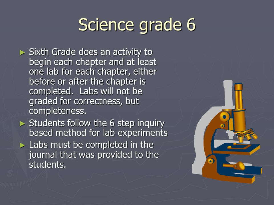 Science grade 6 ► Sixth Grade does an activity to begin each chapter and at least one lab for each chapter, either before or after the chapter is comp