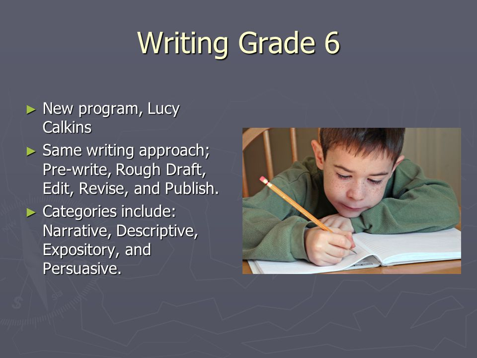 Writing Grade 6 ► New program, Lucy Calkins ► Same writing approach; Pre-write, Rough Draft, Edit, Revise, and Publish.