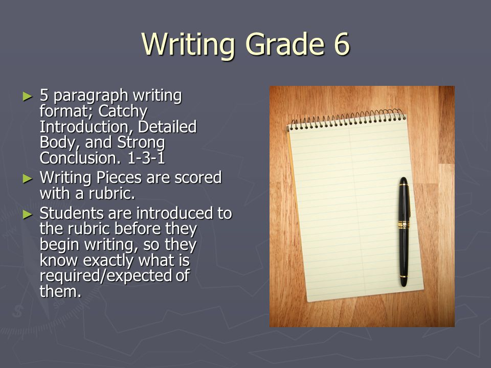 Writing Grade 6 ► 5 paragraph writing format; Catchy Introduction, Detailed Body, and Strong Conclusion.